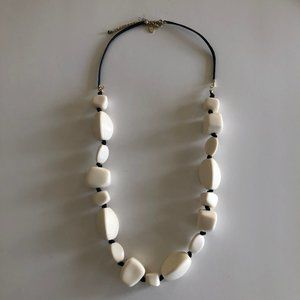 Chunky White & Black Bead Necklace